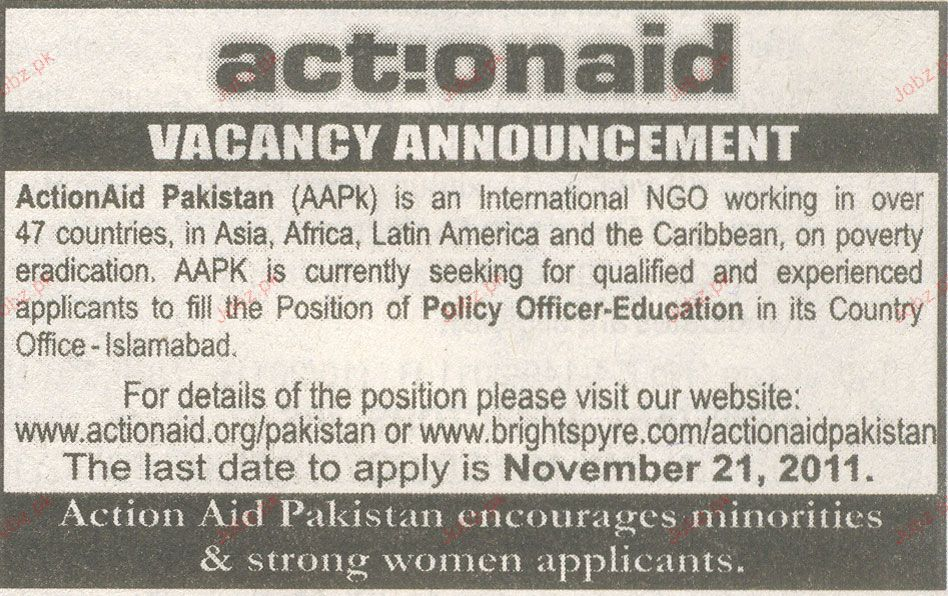 Policy Officer Education Job Opportunity