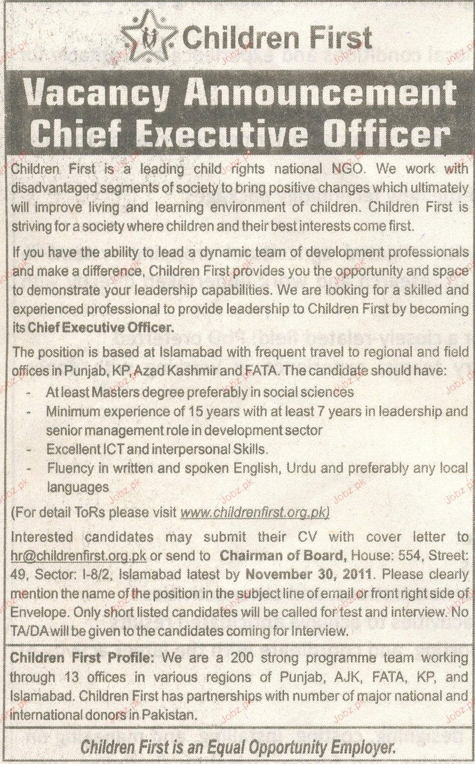Chief Executive Officer Job Opportunity