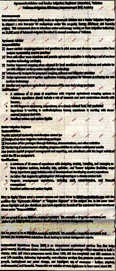 Argonomic Advisor and Senior Irrigation Engineer Required
