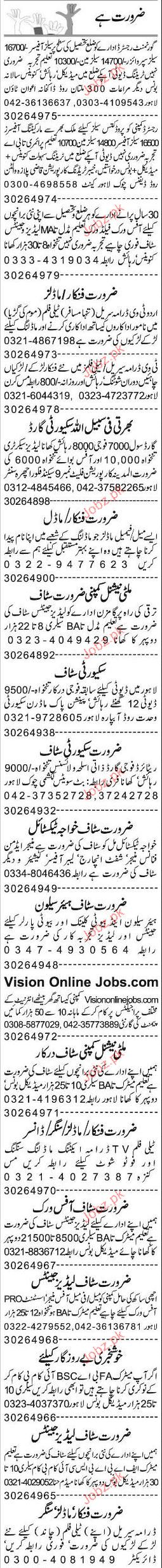 Ladies Secretaries, Shift Incharge, Labor Officer Wanted