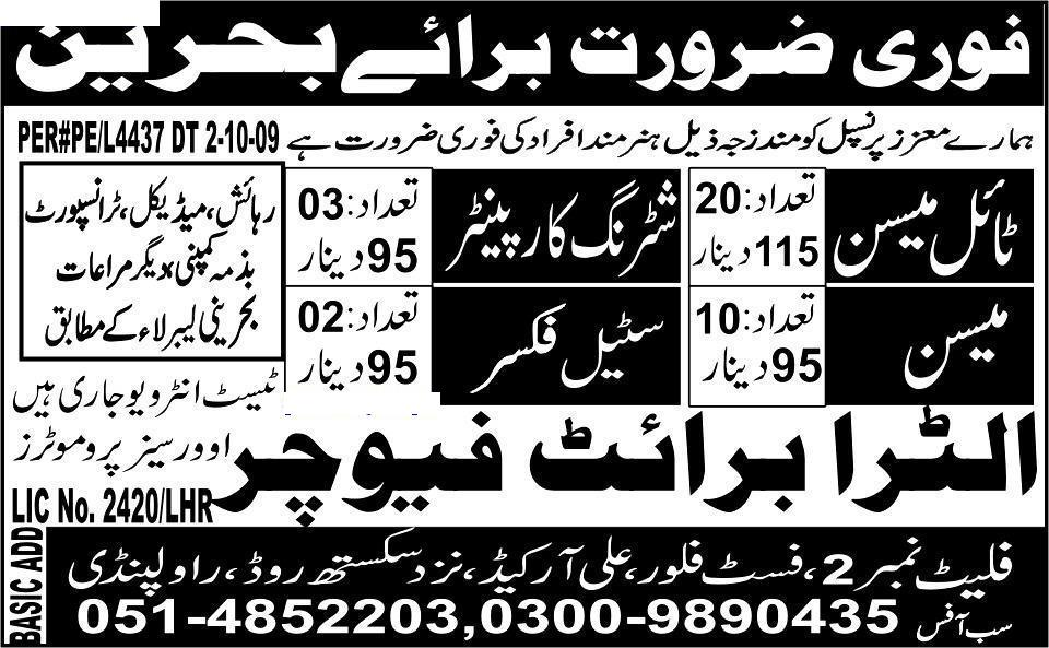 Urgently Required Staff for Bahrain