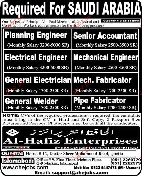 Planning Engineer, Senior Accountant Job Opportunity