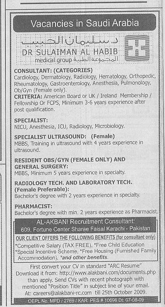 Sulaiman Al Habib Medical Group Saudi Arabia Job Opportuniti 2020 Job Advertisement Pakistan