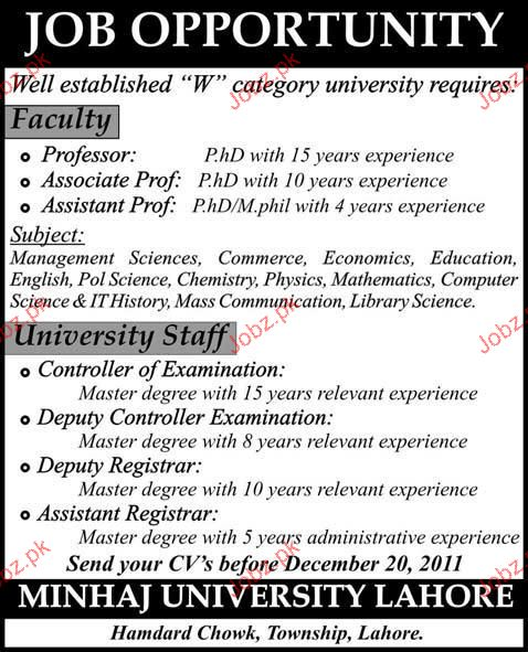 Professor, Associate Professor, Assistant Professor Required