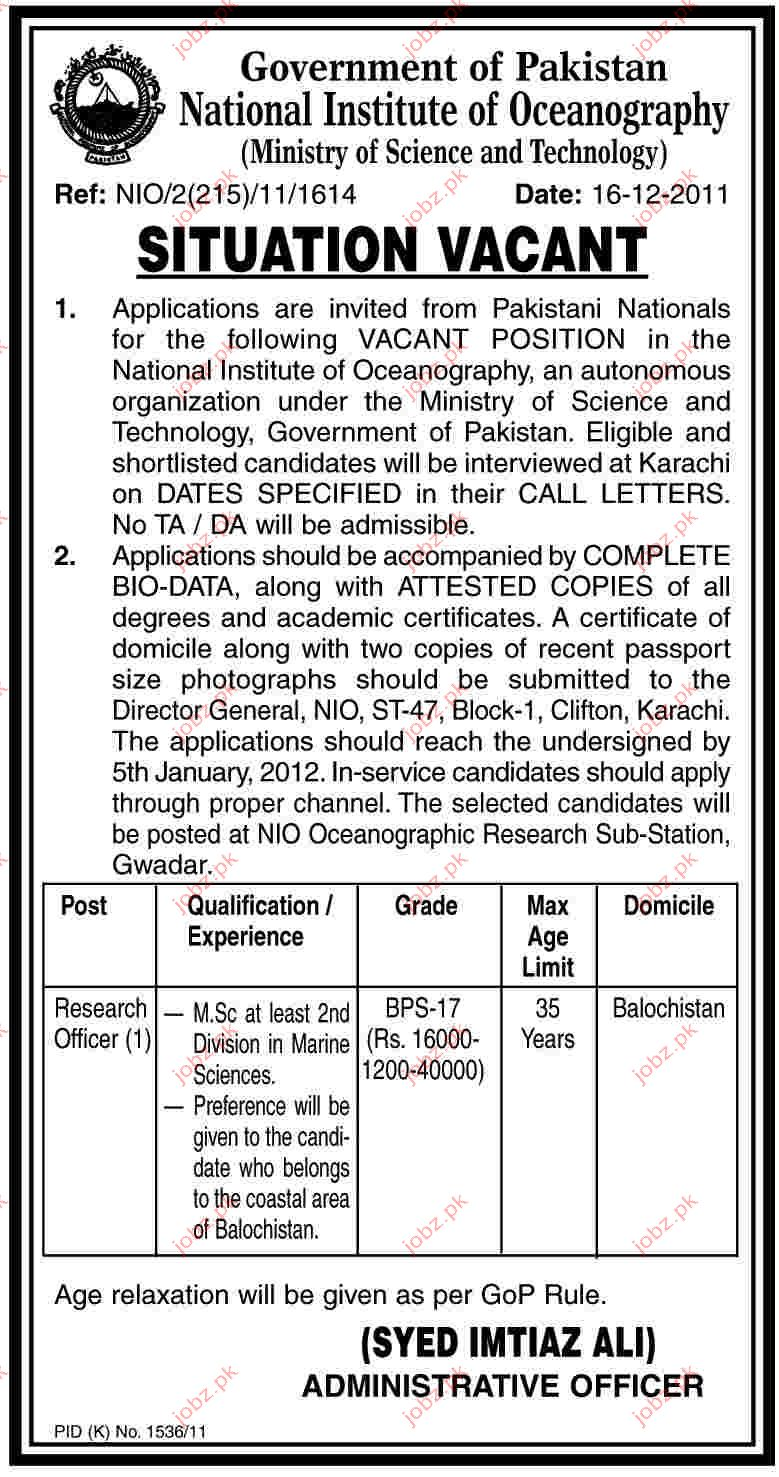 Research officer job Opportunity