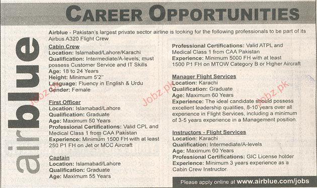 Cabin Crew, First Officer, Captain Job Opportunity 2018 Jobs Pakistan