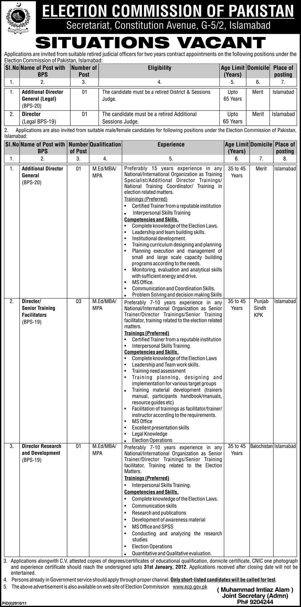 Additional Directors, Director Senior / Training Required