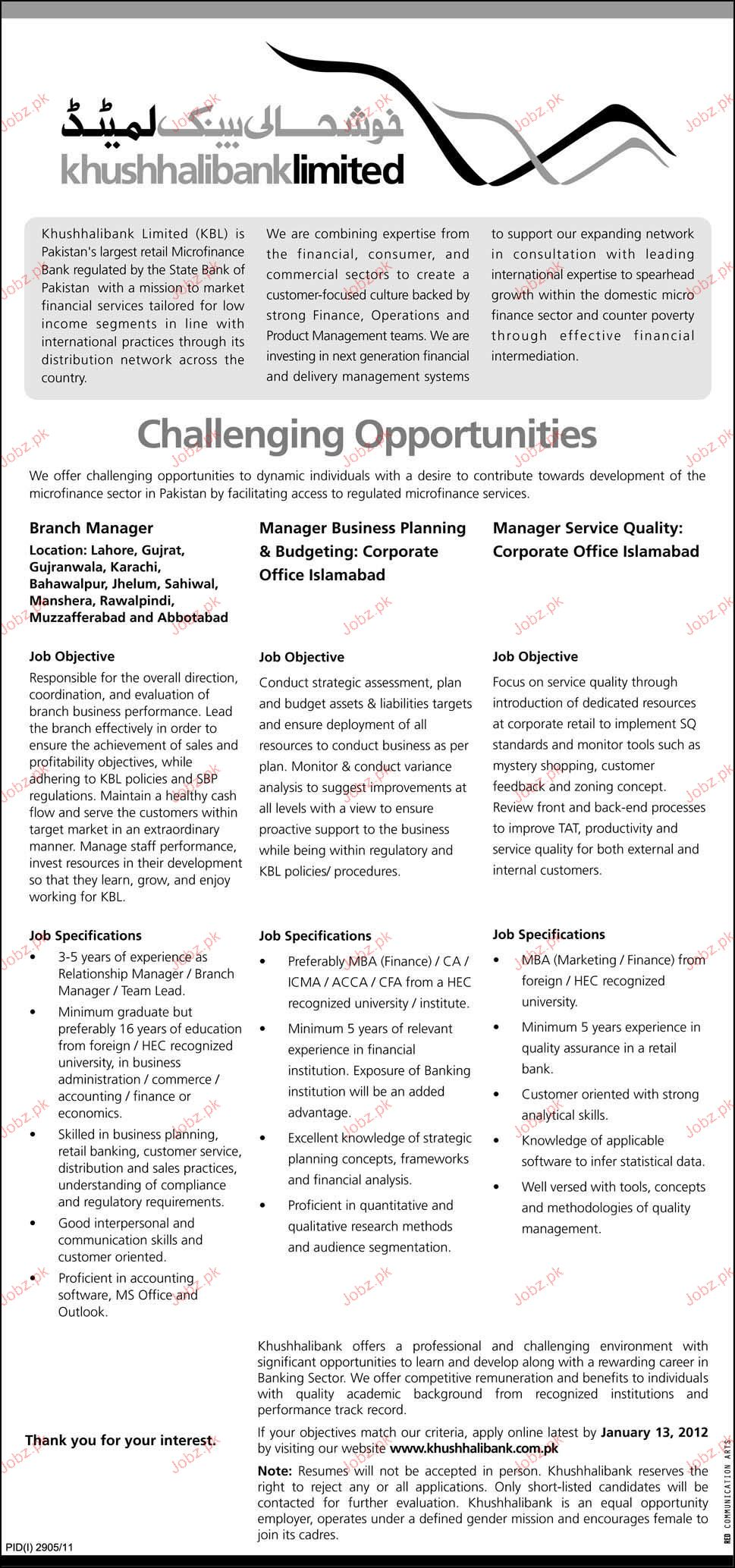 Branch Manager, Manager Business Planning Required