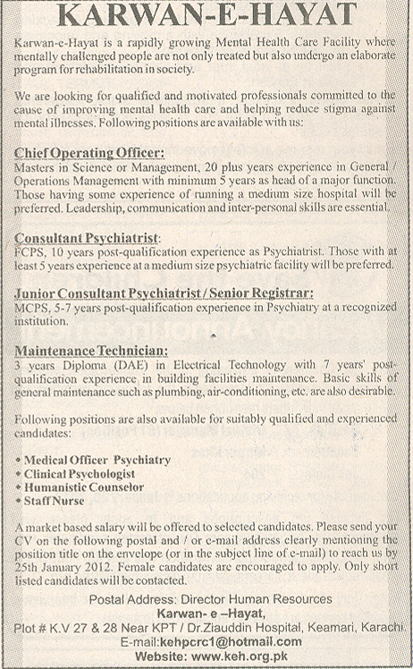 Chief Operating Officer, Consultant Psychiatrist Required