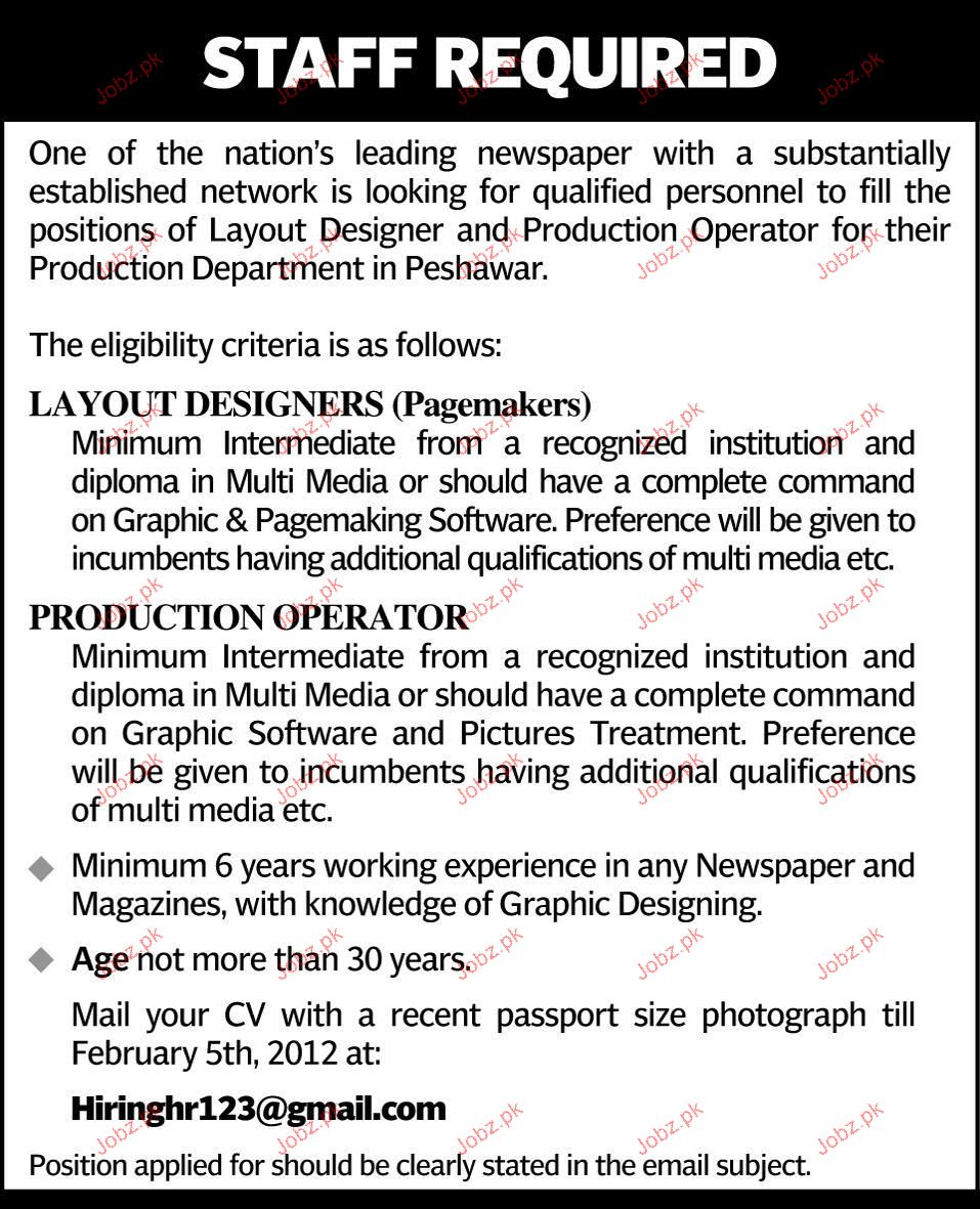 Layout Designer And Production Operators Job Opportunity