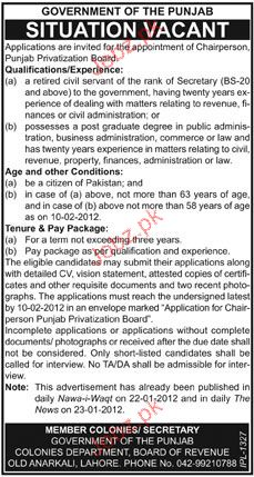 Chairperson Job Opportunity