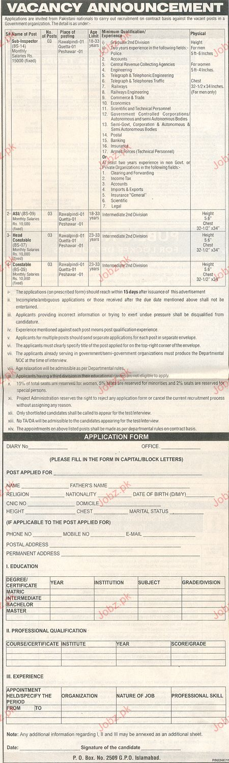 Sub Inspector, ASI, Head Constable Job Opportunity