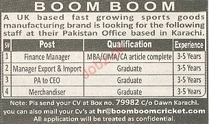 Finance Manager, PA to CEO, Merchandiser Required