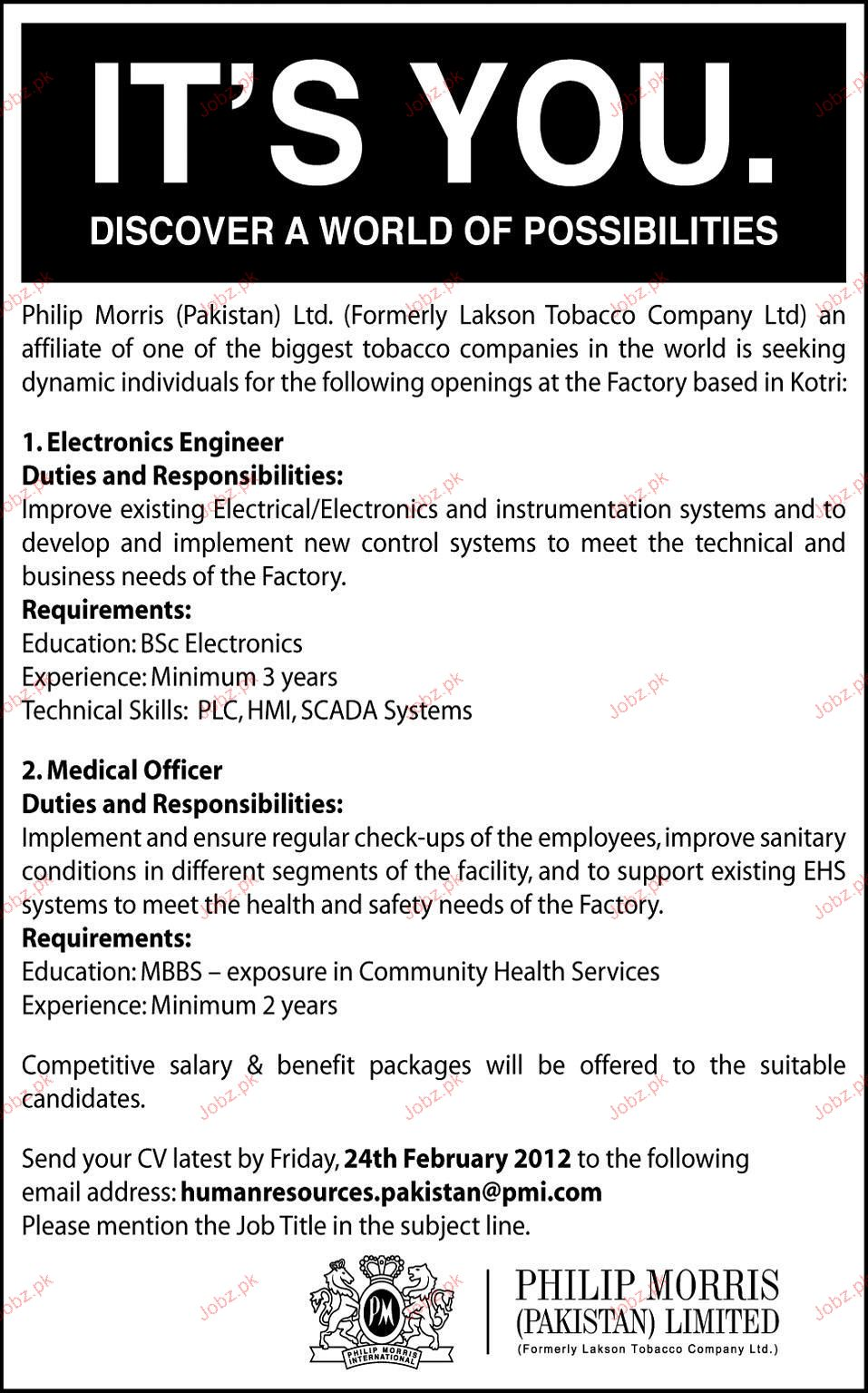 Electronics Engineer Medical Officers Job Opportunity