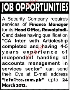 Finance Manager Job Opportunity