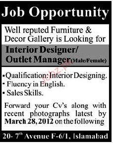 Interior designer and outlet manager job opportunity 2019 - Interior design job advertisements ...