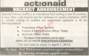 Programme Officer, Finance & Admin Officer Required