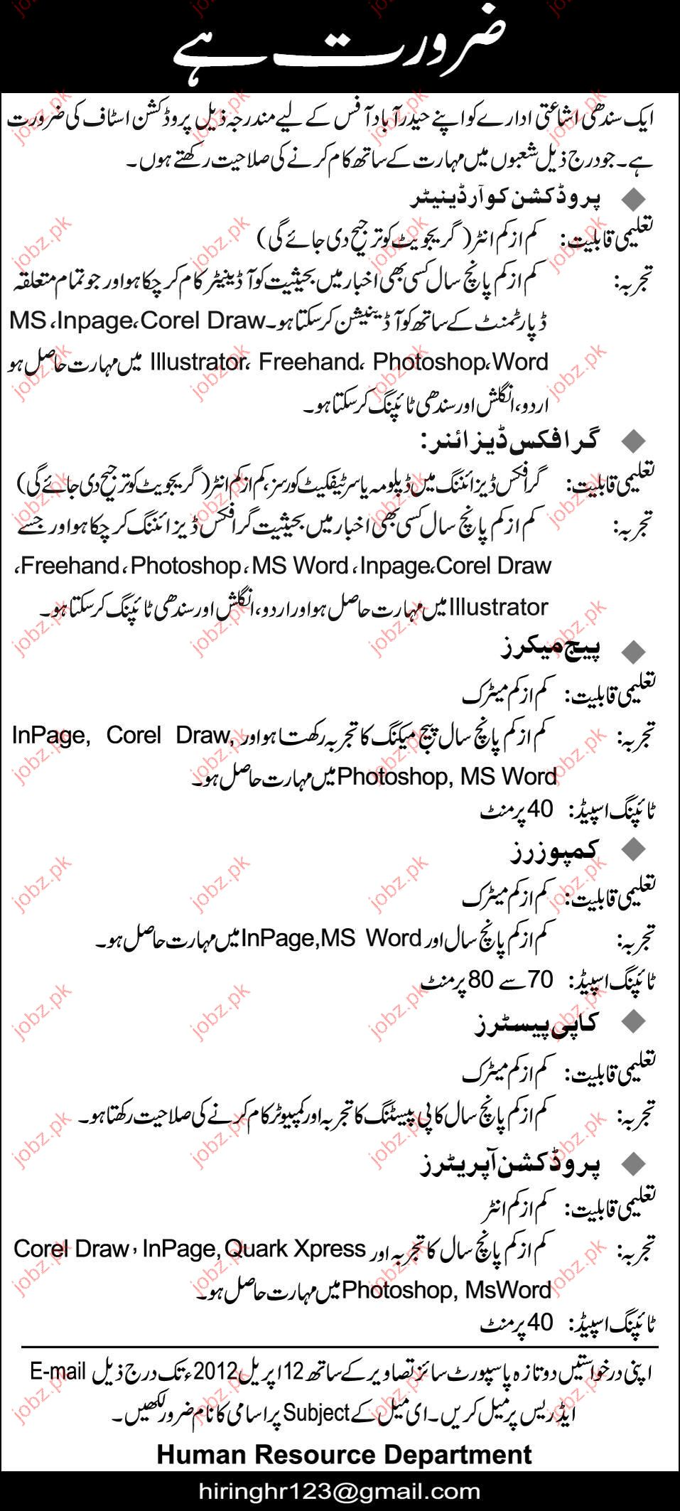 Production Coordinator Graphic Designer Page Maker jobs  : 350631 from www.jobz.pk size 957 x 2126 jpeg 305kB