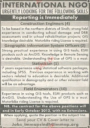 Construction Engineers, Statistician Job Opportunity