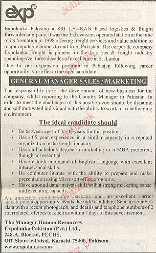 General Manager Sales  / Marketing Job Opportunity