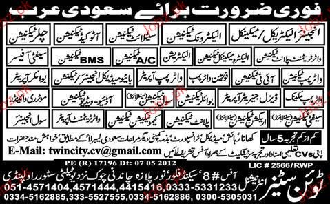 Electrical Engineer, Electrician, Boiler Technicians Wanted