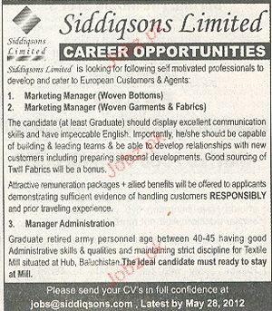 Marketing Manager and Manager Administration Required