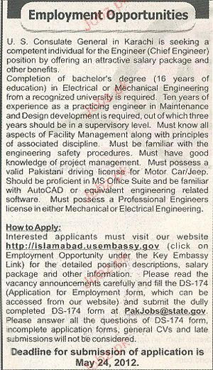 Engineer and Chief Engineers Job Opportunity