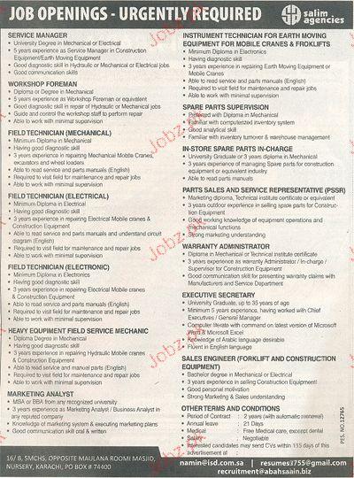 Service Manager, Workshop Foreman Job Opportunity