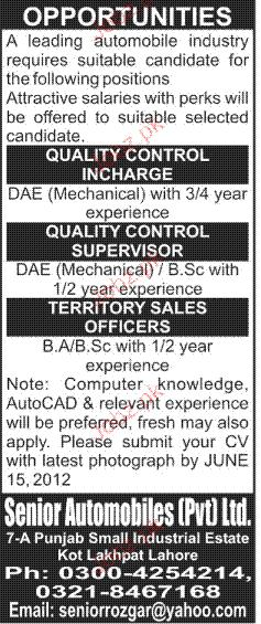 Quality Control Incharge, Territory Sales Officer Wanted