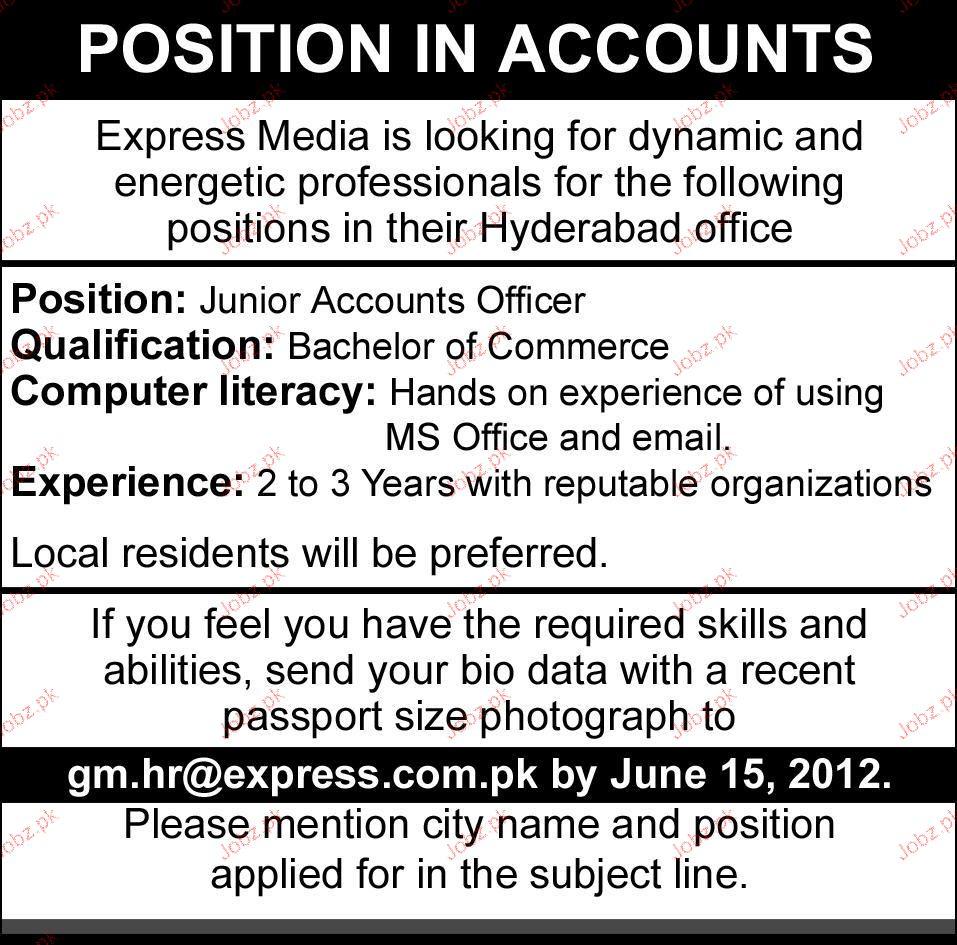 Junior Accounts Officer Job Opportunity