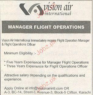Manager Flight Operations Job Opportunity