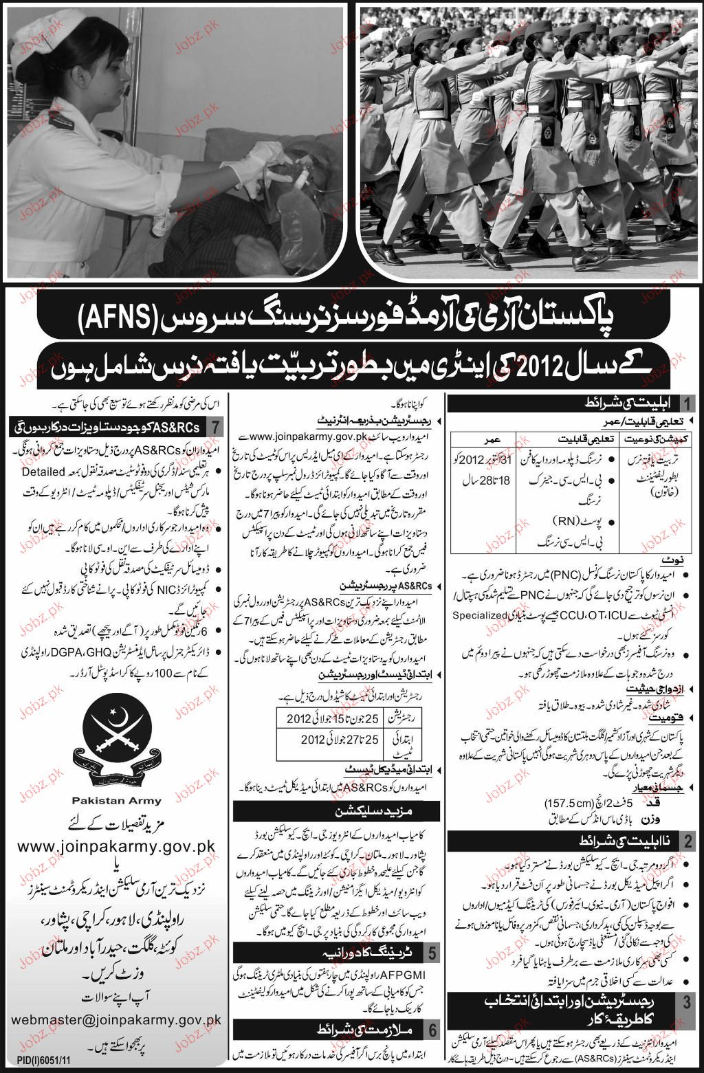 Recruitment of Nursing Staff in Pakistan Army