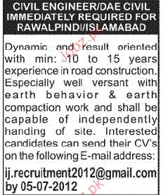 Civil Engineers and DAE Civil Job Opportunity