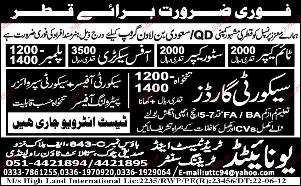 Time Keeper, Store Keeper, Office Secretary Required