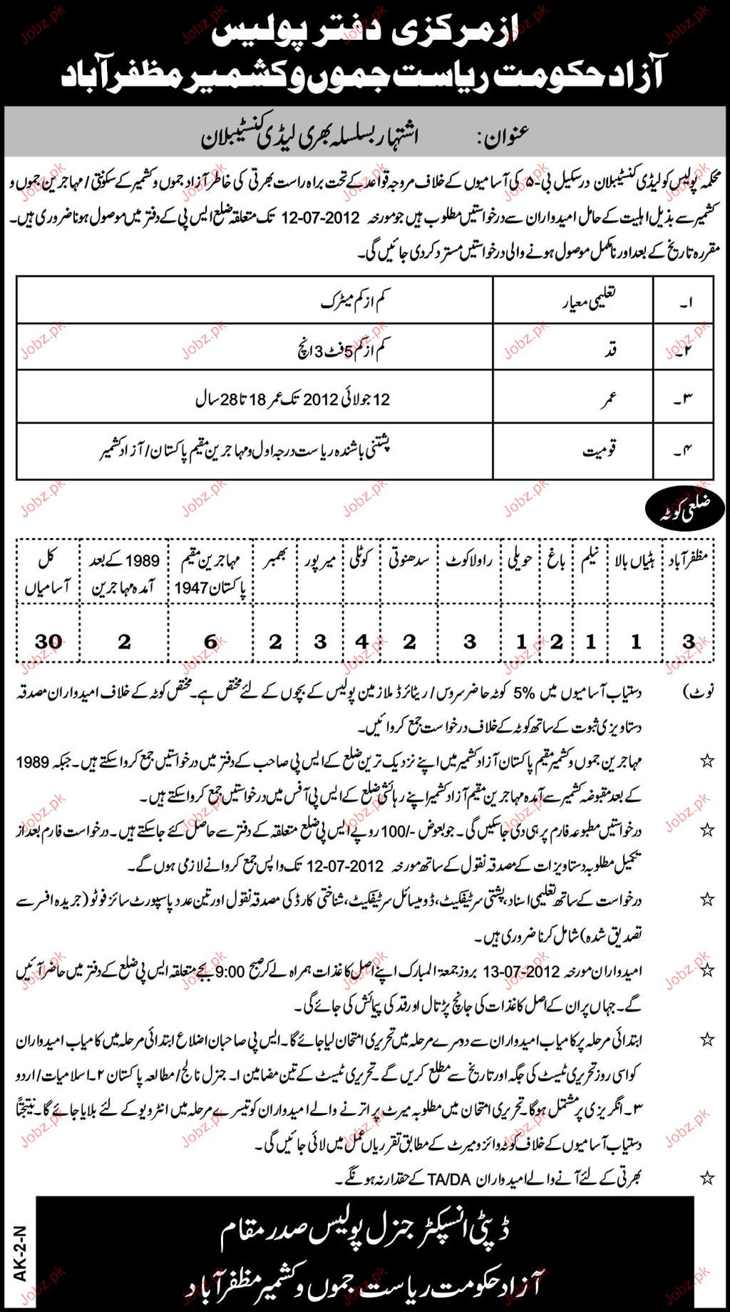 Recruitment of Lady Police Constables