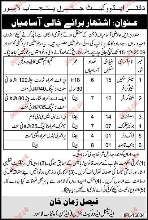 Department Auditor General Punjab Jobs