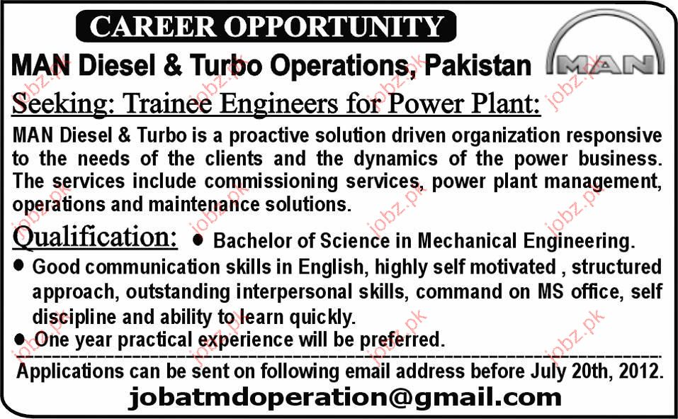 Trainee Engineers for Power Plant job Opportunity 2019 Job