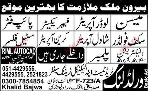 Loder Operator, Pipe Fiter, Steel Fixer staff required