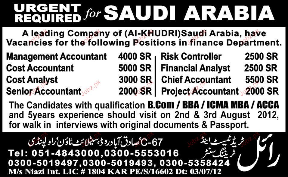 Management Accountant, Cost Accountant Job Opportunity
