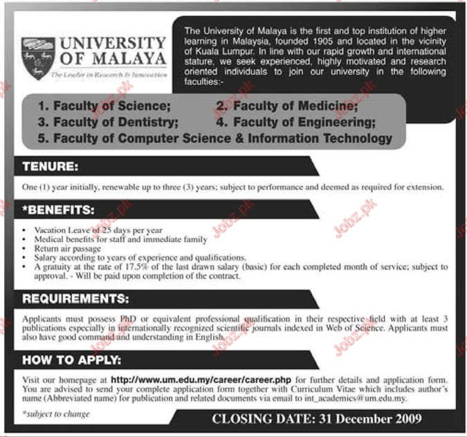 University of Malaya jobs