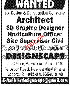 Architect 3d Designer Horticulture Officer Job