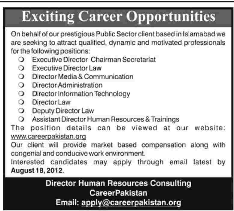 Executive Director Chairman Secretariat, Director Law jobs