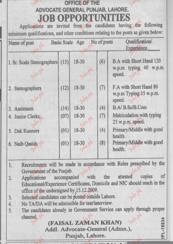 Advocate General Punjab jobs
