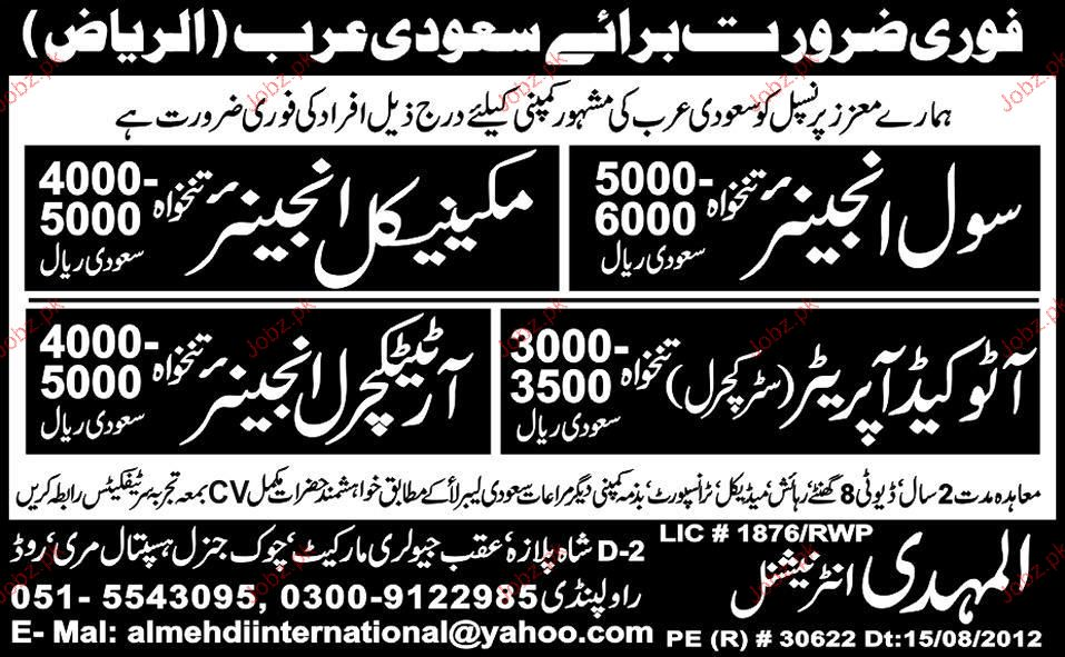 Civil Engineer Mechanical Engineer Autocad Job