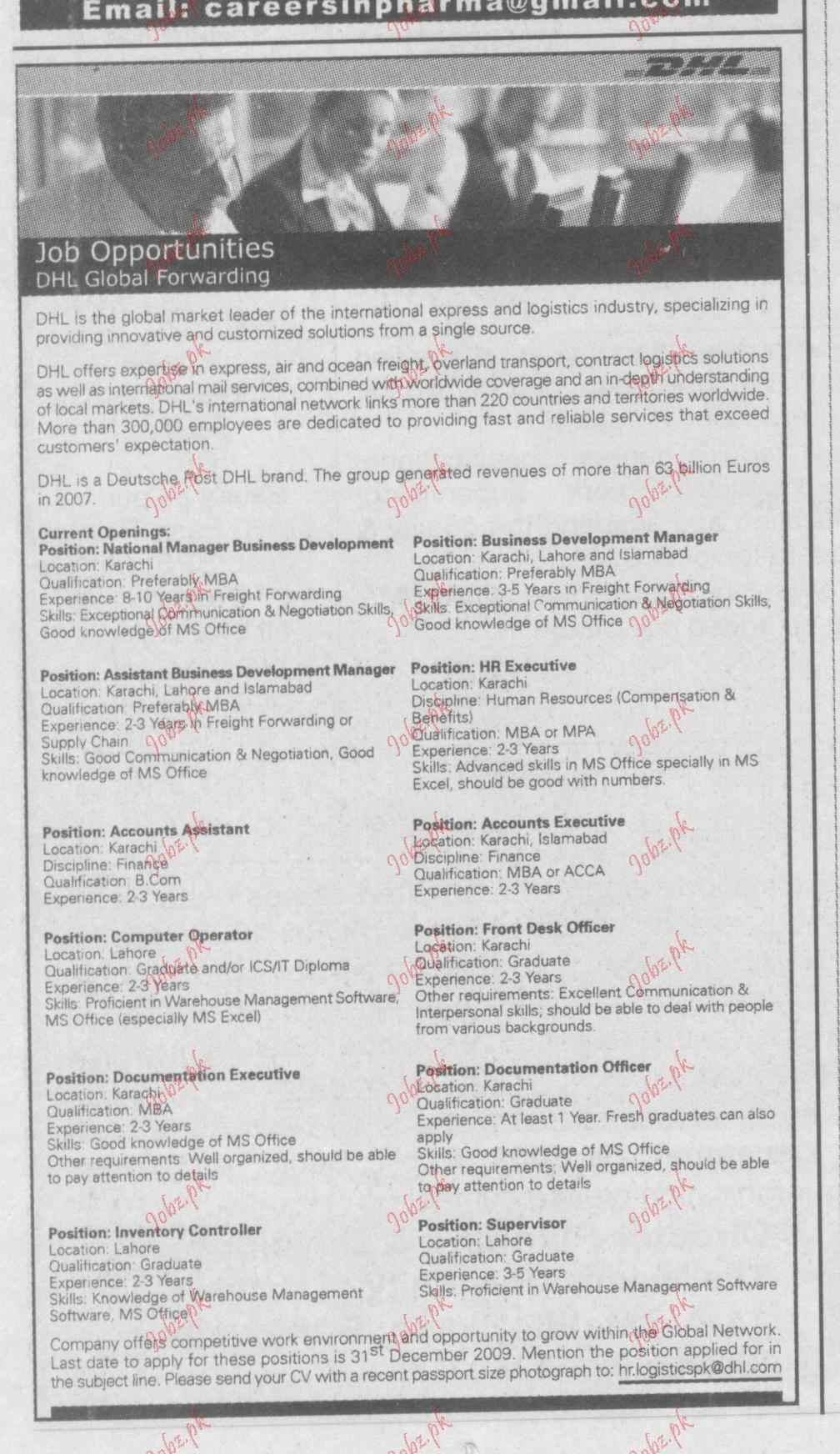 DHL Global Forwarding company jobs 2019 Job Advertisement