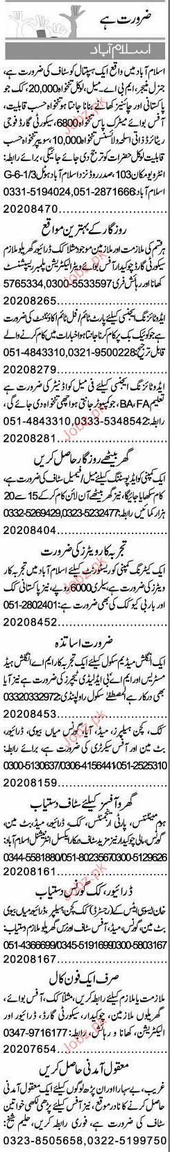 Drivers, Cook, Waiters, Plumber, Receptionist Required