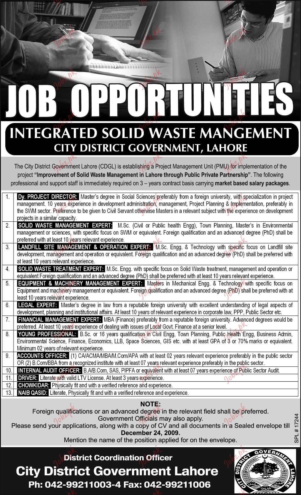 City District Government Job Opportunities 2018 Jobs Pakistan