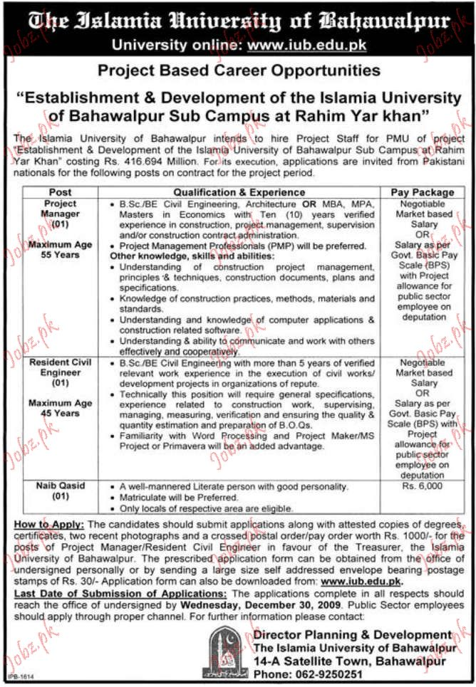 islamia university saff required 2019 job advertisement