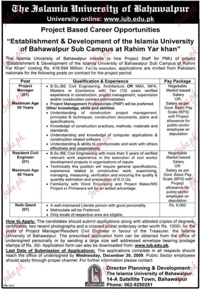 islamia university saff required 2019 job advertisement