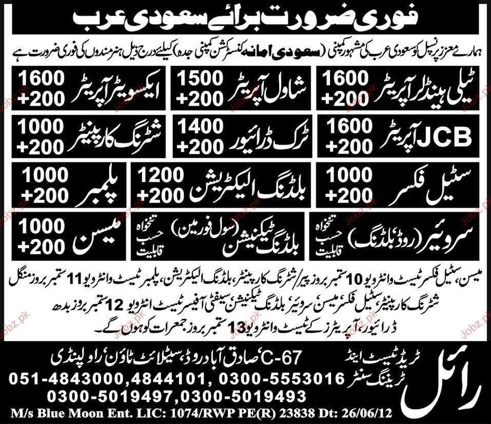 Telehandler Operator, Shawal Operator, Truck Drivers Wanted 2019 Job Advertisement Pakistan